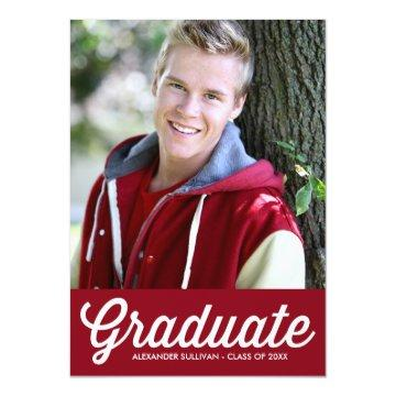 Retro Typography Script | Red Photo Graduation Card
