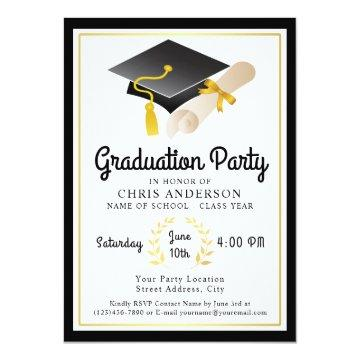 Retro Vibe Graduation Party Invitation