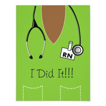 RN Black Nurse Graduation Invitation Scrub Lime #9