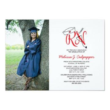 RN Nurse photo graduation pinning party / red Invitation