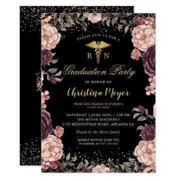 RN Nursing Graduation Party Burgundy Floral Black Invitation