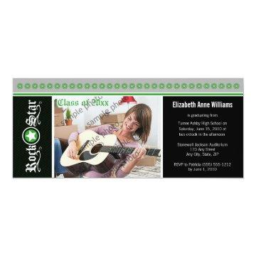 Rock on! Customized Graduation Announcement: green Card