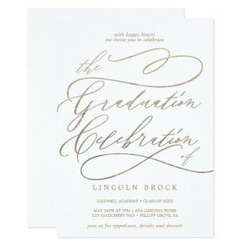 Romantic Gold Calligraphy Graduation Celebration Invitation