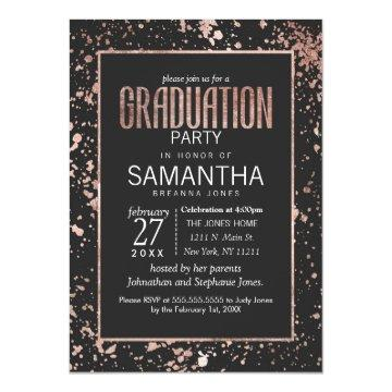 Rose Gold and Paint Splatters Graduation Party