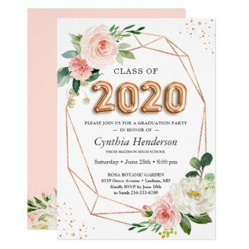 Rose Gold Balloon Font Class of 2020 Graduation Invitation