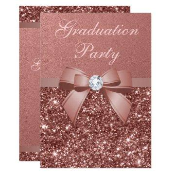 Rose Gold Blush Glitter Bow Graduation Party
