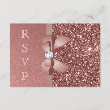 Rose Gold Blush Glitter Bow RSVP