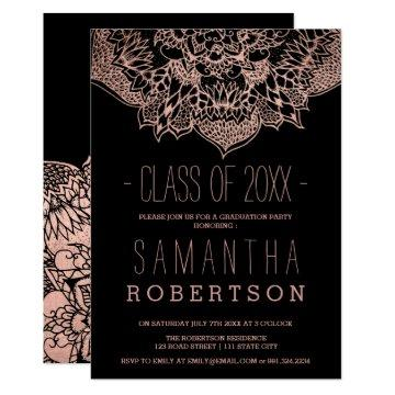 Rose gold boho floral mandala graduation card