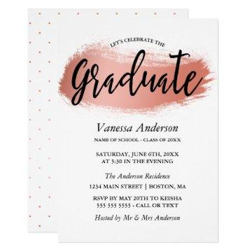 Rose Gold Brush Stroke Graduation Party