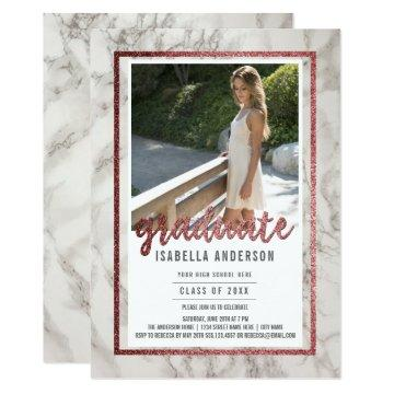Rose Gold Calligraphy on Marble | Photo Graduation Invitation