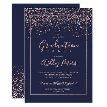 Rose gold confetti navy blue typography graduation