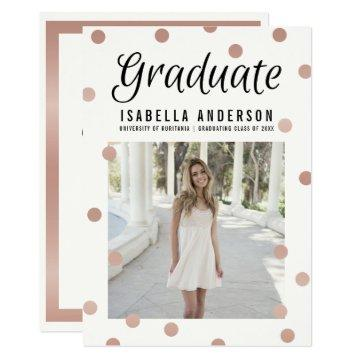 Rose Gold Dots & Stripes Modern Graduation Photo Card