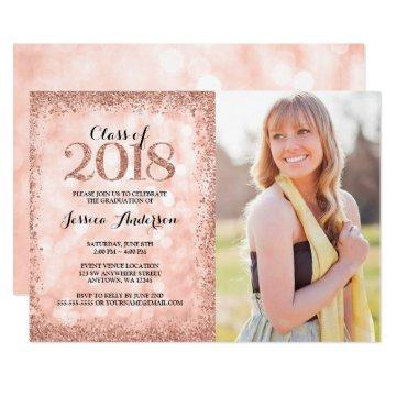 Rose Gold Faux Glitter Light 2018 Photo Graduation Invitation