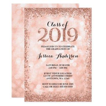 Rose Gold Faux Glitter Lights 2019 Graduation