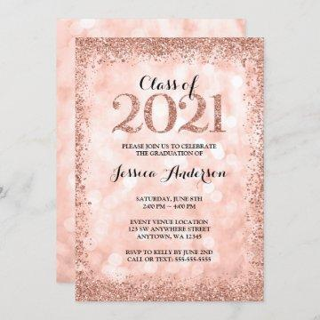Rose Gold Faux Glitter Lights 2021 Graduation Invitation