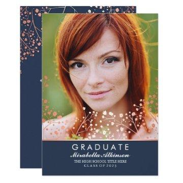 Rose Gold Floral Elegant Navy Photo Graduation Invitation