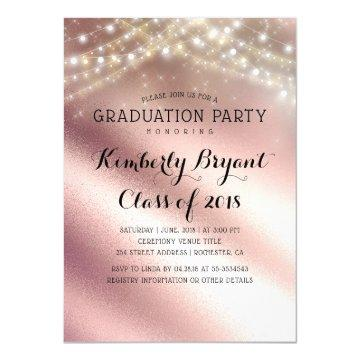 Light pink graduation invitations graduation invitations rose gold glitter and sring lights graduation invitation filmwisefo