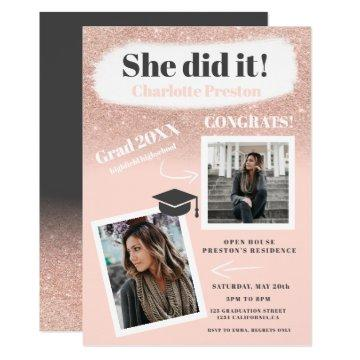 Rose gold glitter brushstrokes photo graduation invitation