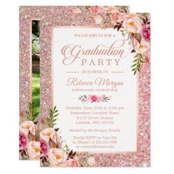 Rose Gold Glitter Pink Floral Graduation Party Card