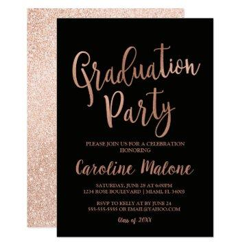 Rose Gold Graduation Party Invitation | Glitter