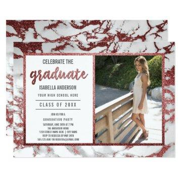 Rose Gold & Marble Typography | Photo Graduation Card