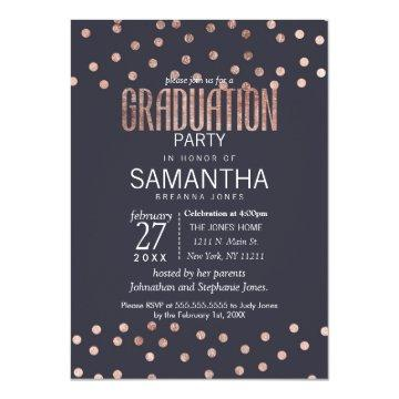 Rose Gold Polka Dots and Navy Blue Graduation