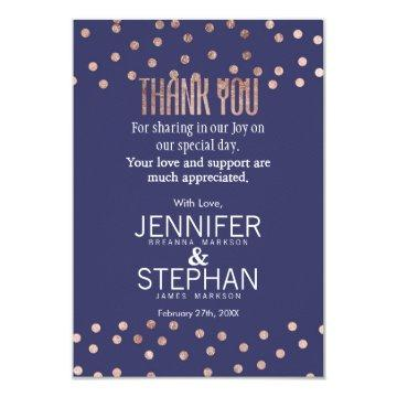 Rose Gold Polka Dots Light Navy Blue Thank You Card