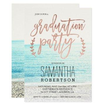 Rose gold typography beach graduation party