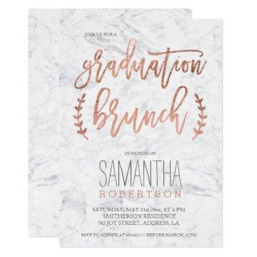 Rose gold typography marble graduation brunch invitation