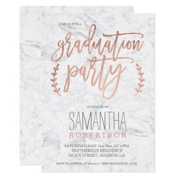 Rose gold typography marble graduation party invitation