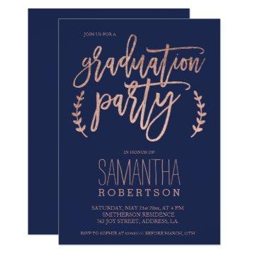Rose gold typography navy blue graduation party