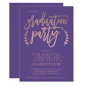 Rose gold typography purple graduation party 2 card