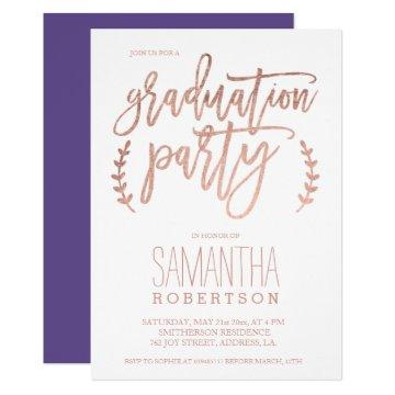 Rose gold typography purple graduation party