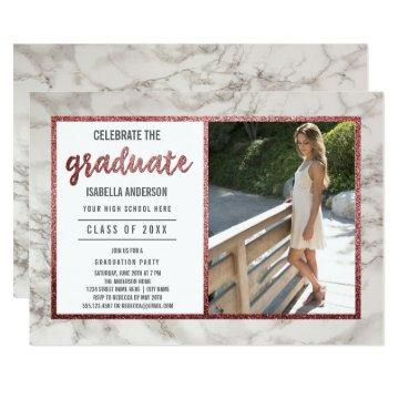 Rose Gold & White Marble | Photo Graduation Party Card