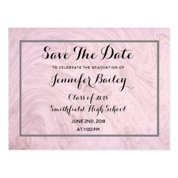 Rose Marble Graduation Party Save The Date Postcard