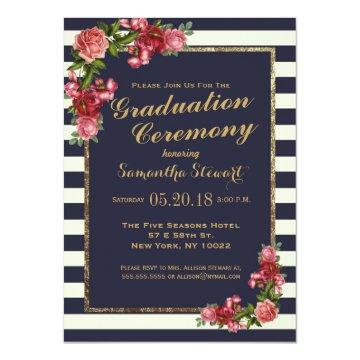 Roses Navy Stripes and Gold Graduation Ceremony Card