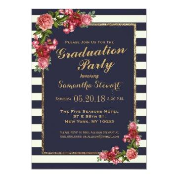Roses Navy Stripes and Gold Graduation Party Invitation