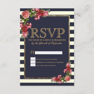 Roses Navy Stripes and Gold RSVP Cards