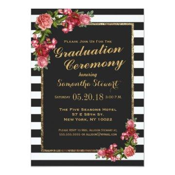 Roses Stripes and Gold Graduation Ceremony Invites