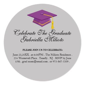 Round Celebrate The Graduate Purple Cap Invite