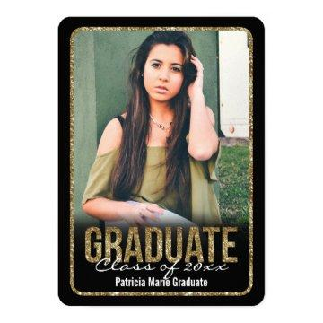 Rounded Glitter Photo Graduation Card
