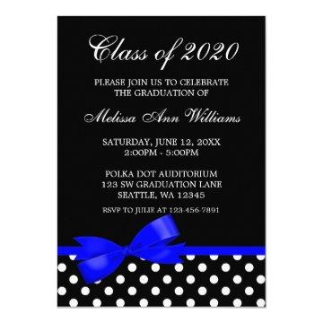Royal Blue Bow Polka Dots Graduation Announcement
