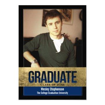 Royal Blue Gold Foil Block Effect Photo Graduation
