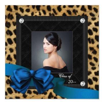 Royal Blue Leopard Photo Graduation Card