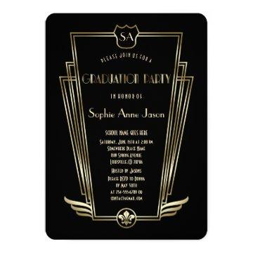 Royal Gold Art Deco Monogram Graduation Party Card