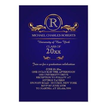 Royal Golden Monogram Blue Graduation
