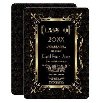 Royal Roaring 20s Gold Art Dec Graduation Party Invitation