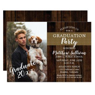 Rugged Woodsy Photo Graduation Party Card