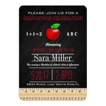 Ruler & Apple Teacher Graduation Invitation