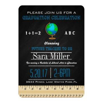 Ruler & Globe Teacher Graduation Invitation
